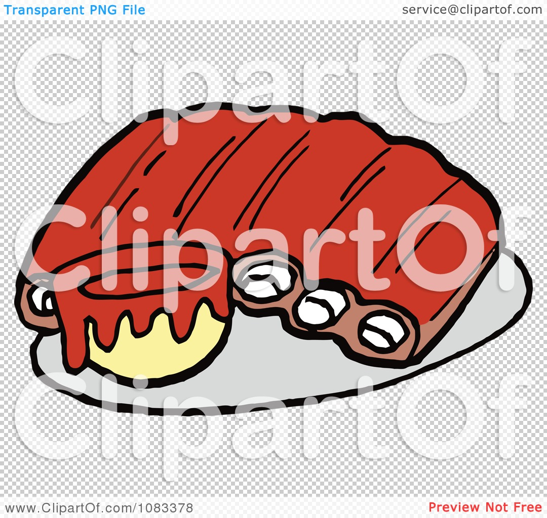 Rib Clipart Clipart Ribs And Bbq Sauce Royalty Free Vector