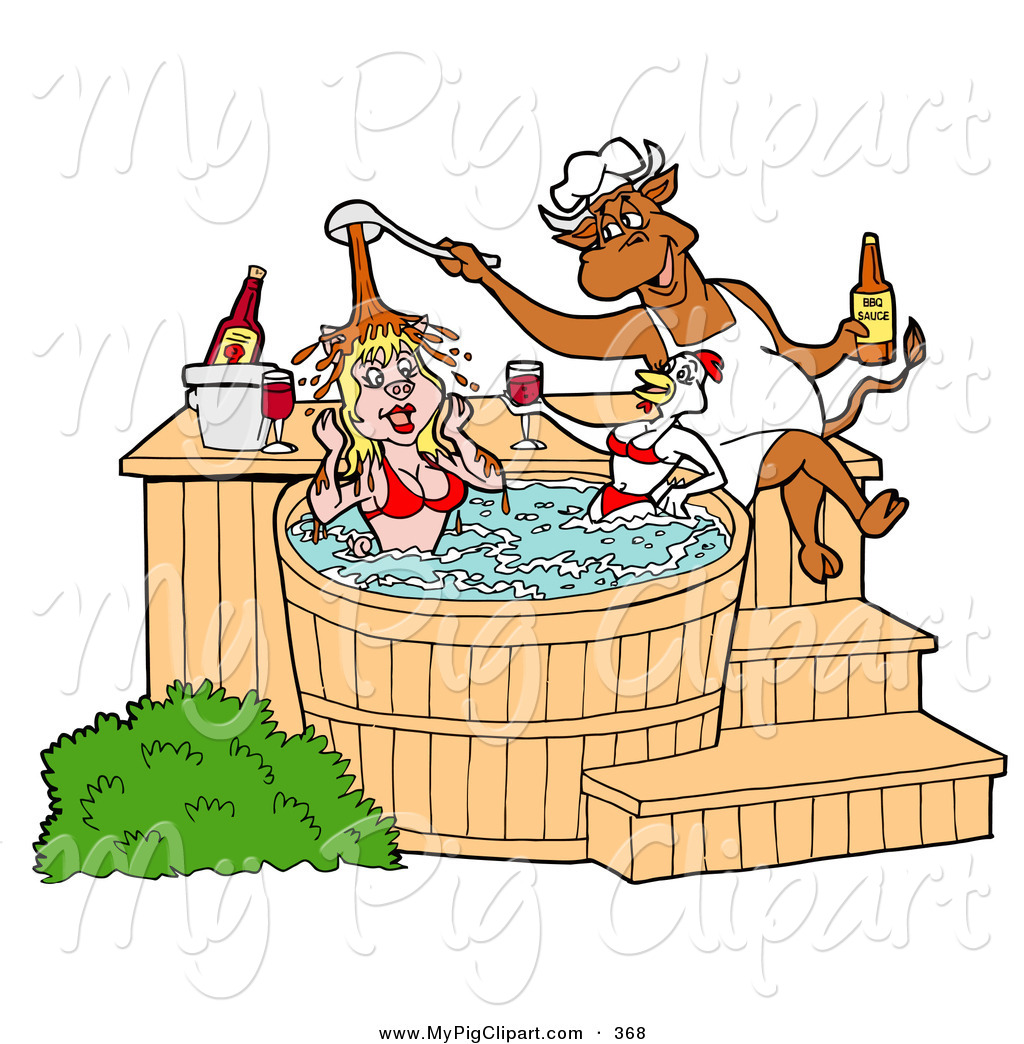 Swine Clipart Of A Hungry Chef Bull Pouring Bbq Sauce On A Female Pig