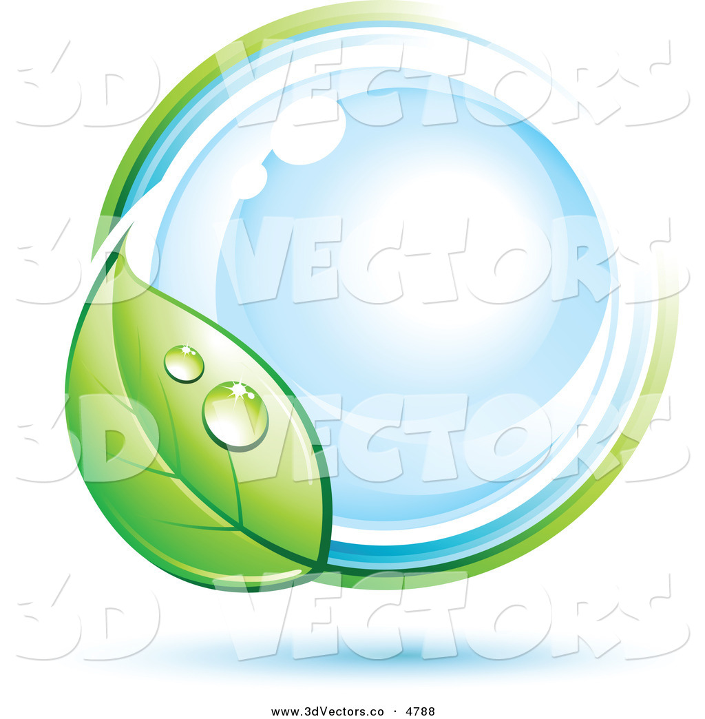 Vector Clipart Of A Pre Made Logo Of A Dewy Green Leaf Circling A Blue