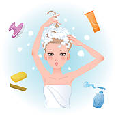 Washing Hair Clipart Young Woman Soaping Her Hair