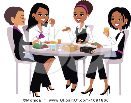 1091866 Clipart Christian Women Talking And Eating Lunch With A Bible