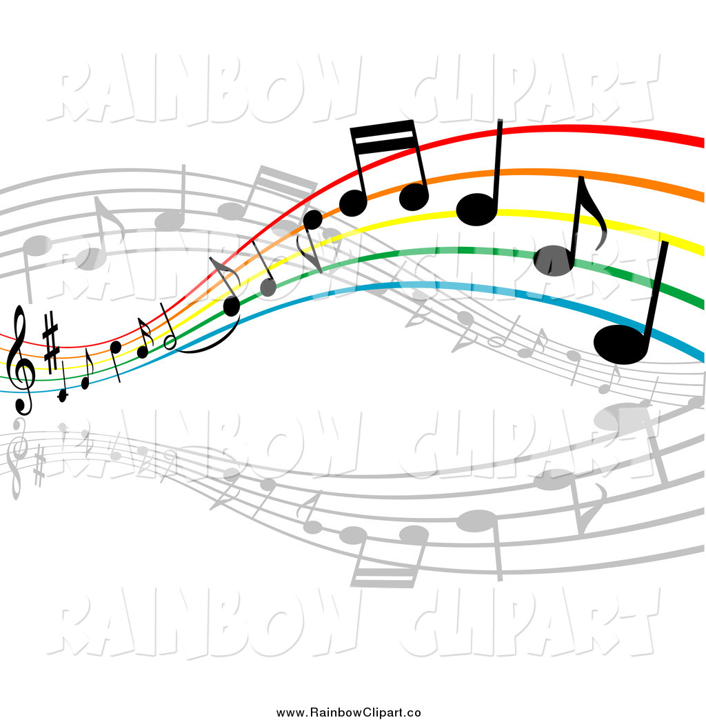 Art Of A Colorful Rainbow Staff And Music Notes By Seamartini Graphics