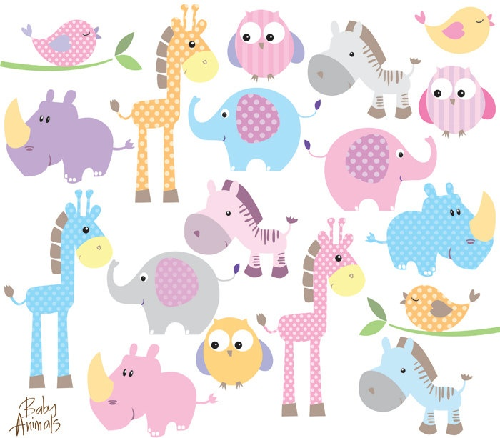 Baby Animal Clipart Clip Art Cute Little Animals Baby Shower Pastel