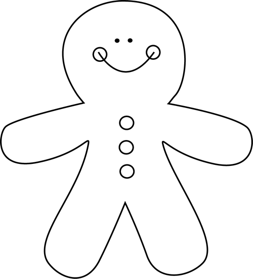 Black And White Gingerbread Man Clip Art   Black And White Gingerbread