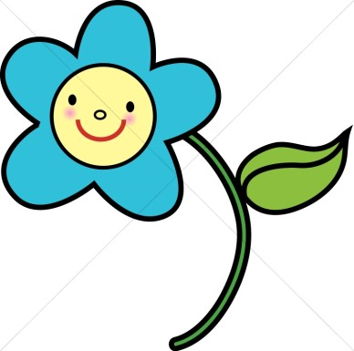 Blue Flower With Yellow Smiley Face
