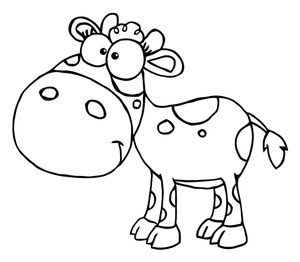 Calf Clipart Image   Black And White Young Cow