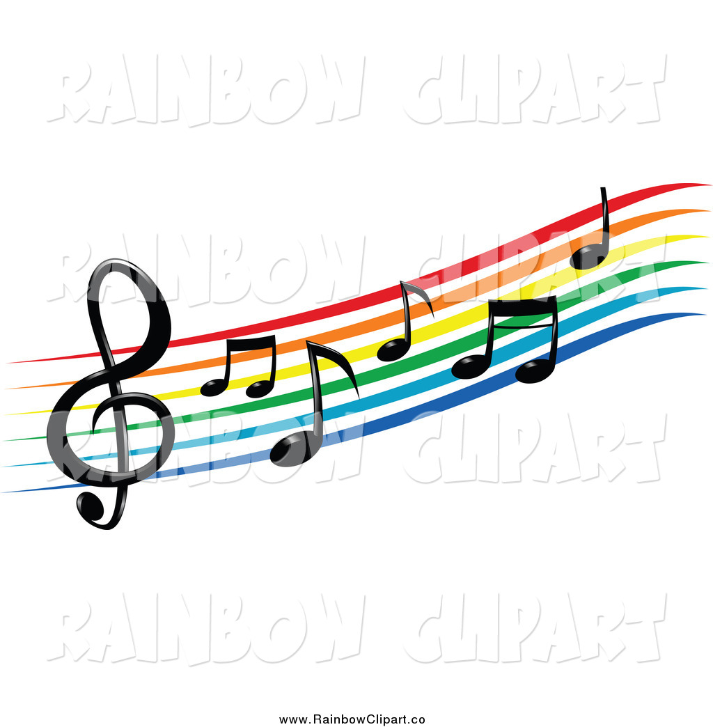 Christmas Music Notes Clip Art Colorful Music Staff Clipart Vector