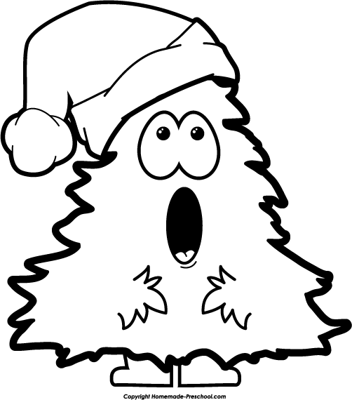 Christmas Tree Clipart Black And White   Cool Eyecatching Tatoos