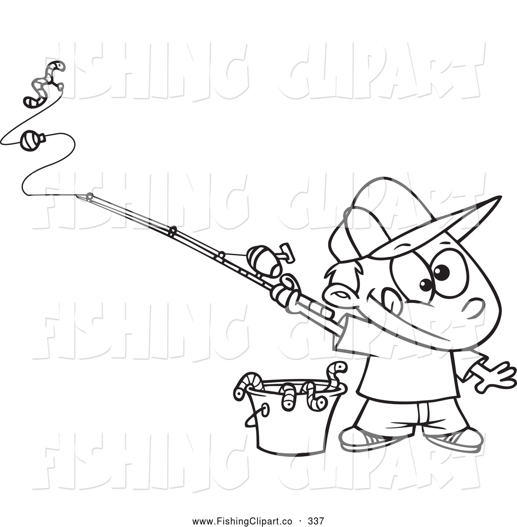 Clip Art Of A Coloring Page Of A Fishing Boy With A Bucket Of Worms By