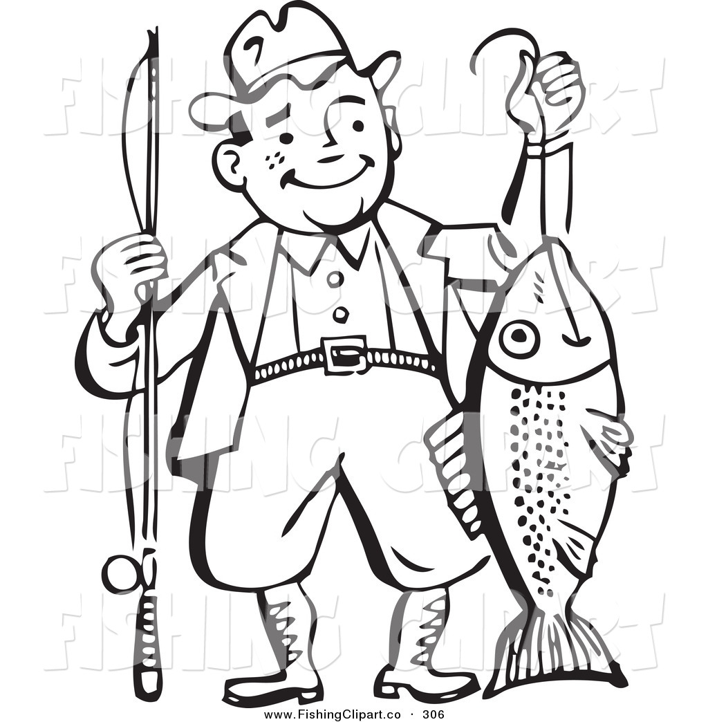 Clip Art Fisherman Clipart old fisherman clipart kid clip art of an fashioned black and white man proudly holding his