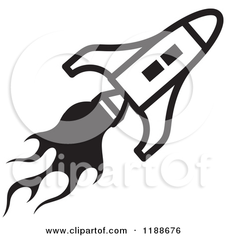 Clipart Of A Black And White Rocket Shuttle Icon   Royalty Free Vector