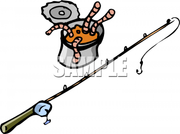 Clipart Picture Of A Can Of Worms And A Fishing Pole