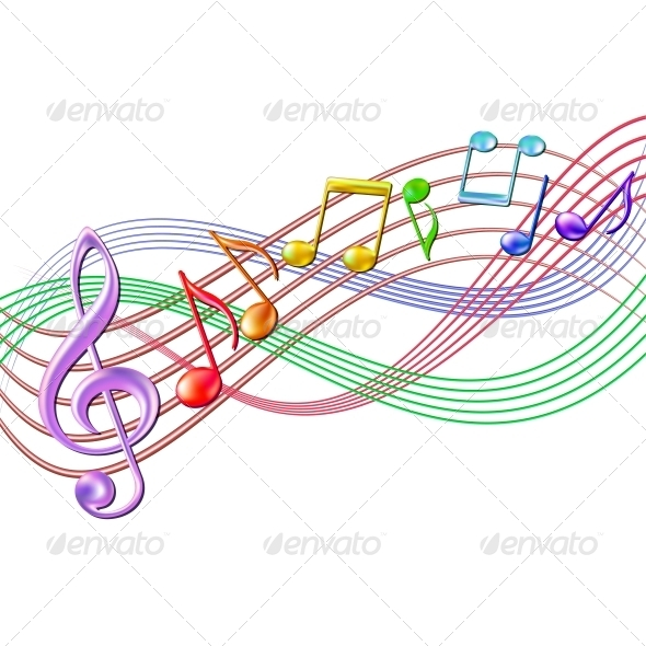 Colourful Musical Notes Staff Background On White   Decorative Symbols