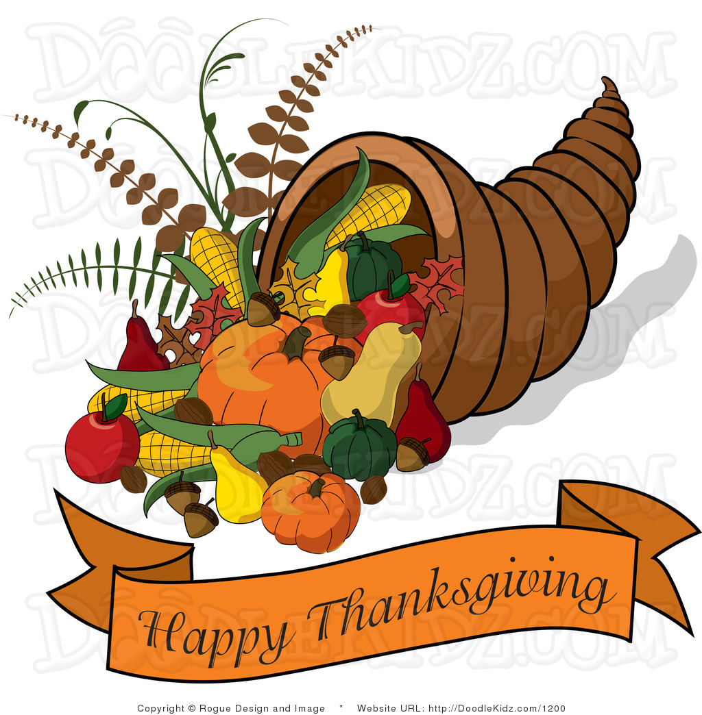 Thanksgiving Pictures Clipart Cornucopia With A Happy Thanksgiving Banner By Pams Clipart 1200