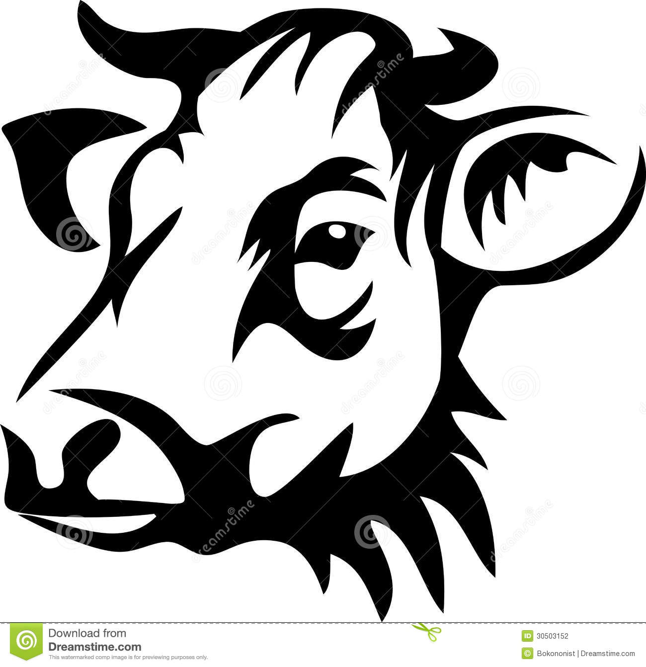 Cow Head Clipart Black And White Cow Head Horned Black White