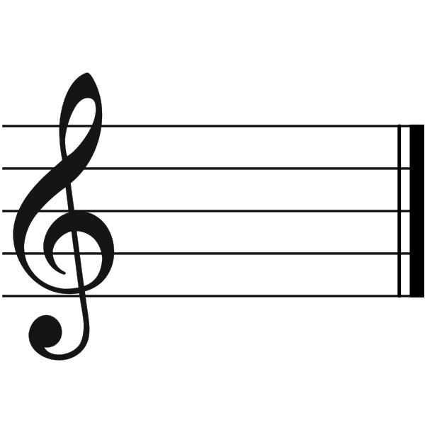 Description Treble Clef With Empty Staff Svg
