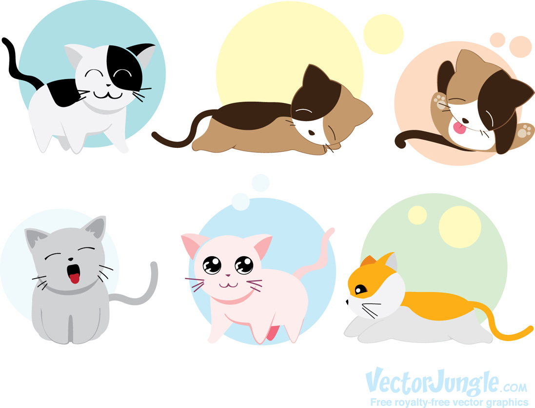 Free Vector Kittens   Vectorjungle   Free Vector Art Vector Graphics