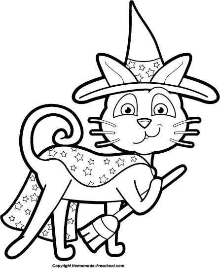Halloween Cat Clip Art Black And White Halloween Cat Witch Bw Png