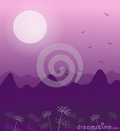 Illustration Of Romantic Landscape In Evening With Full Moon