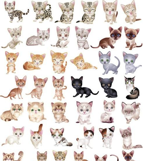 Kittens Vector Graphics   Nice Set Of Free Vector Kittens Clipart