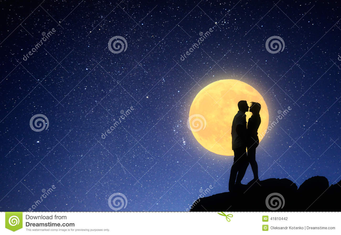 Loving Couple Kissing On A Moonlit Night Stock Photo   Image  41810442