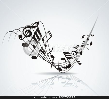 Music Note Background Design Stock Vector Clipart Musical Notes Staff