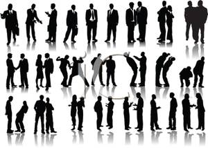 Of A Large Group Of Men And Women   Royalty Free Clipart Picture