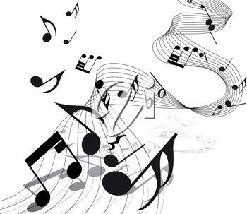 Picture Of Music Notes On An Abstract Staff In A Vector Clip Art