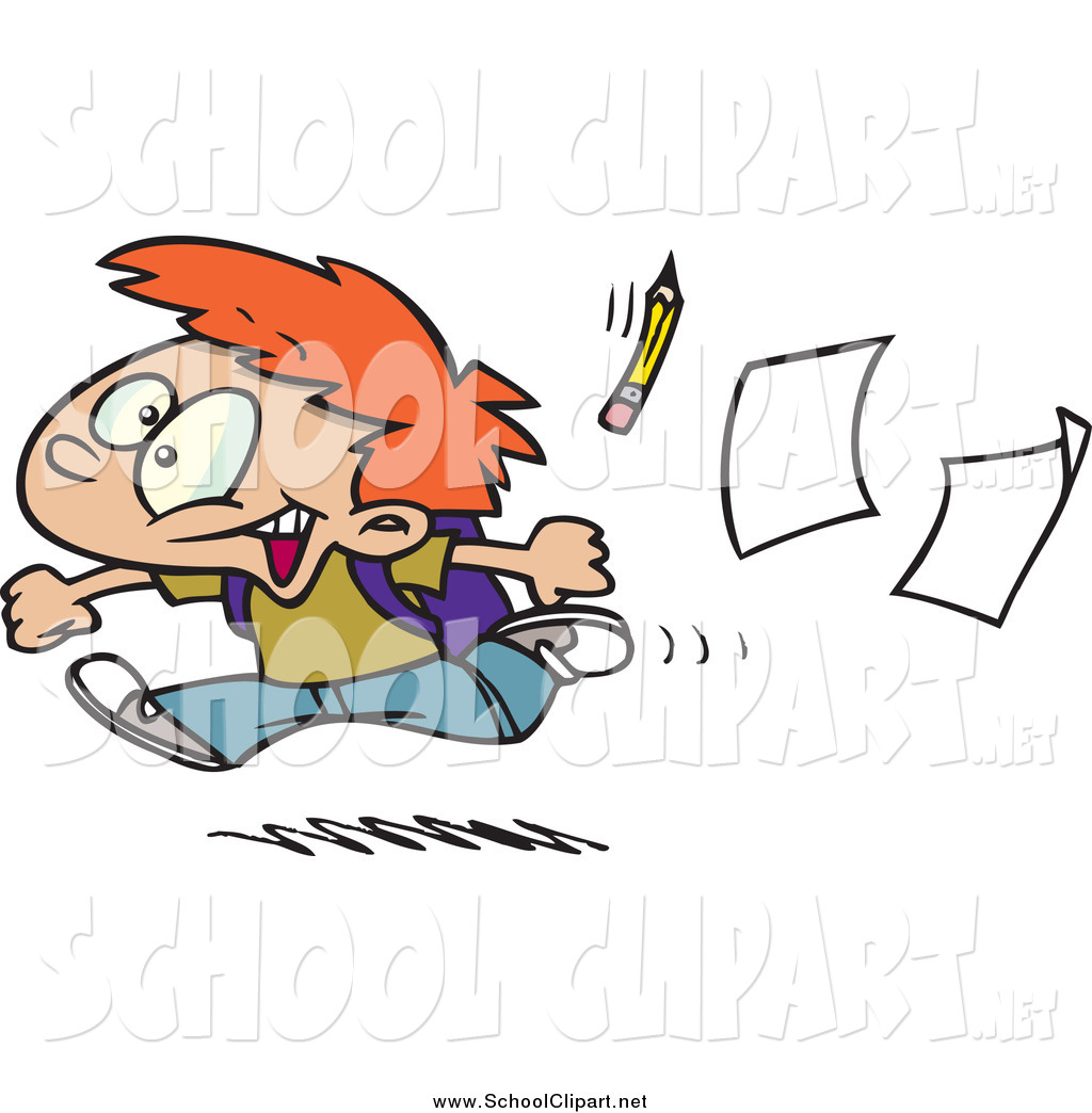 Red Haired Boy Running Home On The Last Day Of School By Ron Leishman