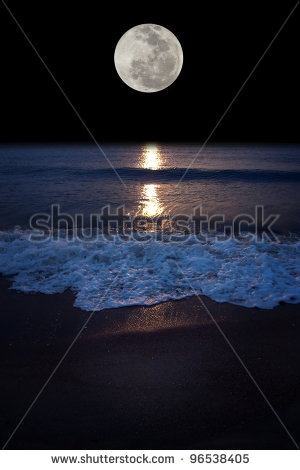 Romantic Tropical Beach With Beautiful Full Moon Stock Photo 96538405