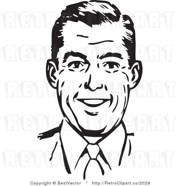 Royalty Free Black And White Retro Vector Clip Art Of A Business Man