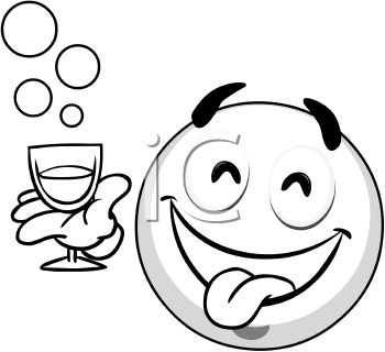 Royalty Free Clip Art Image Black And White Smiley Face With A Drink