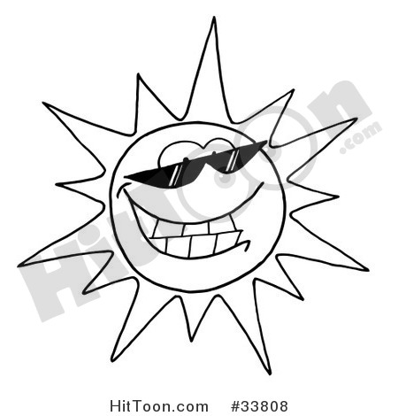 Sun Clipart  33808  Black And White Outline Of A Cool Sun Character