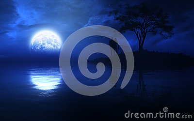 Type Fantasy Night With Full Moon Over A Lake With A Romantic