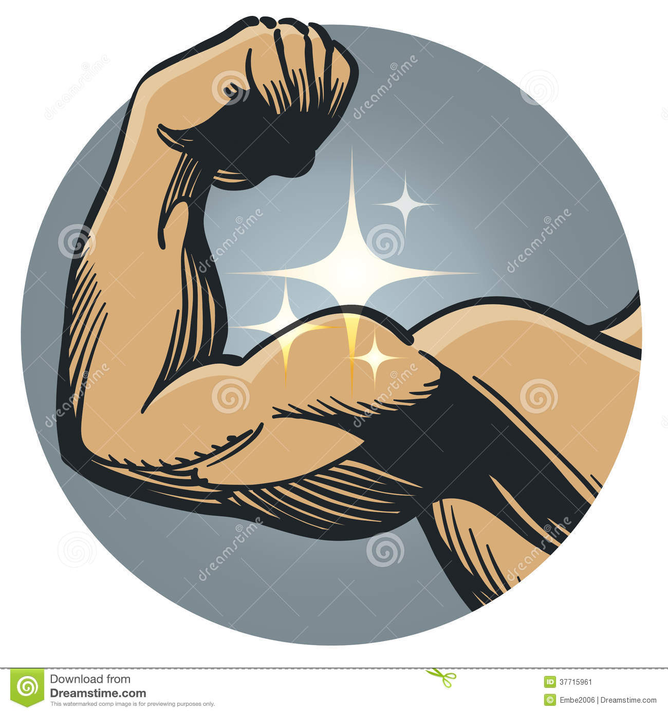An Illustration Of A Mans Arm Flexing A Large Muscle