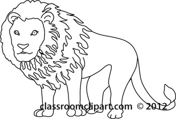 Animals   Lion 212 20 Outline   Classroom Clipart