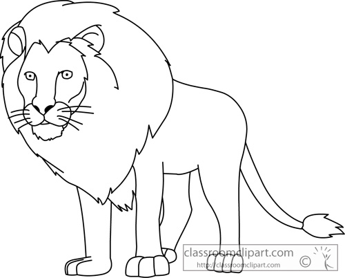 Animals   Lion Animal Outline 713   Classroom Clipart
