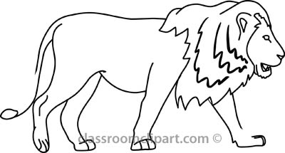 Animals   Lion Side 04a Outline   Classroom Clipart