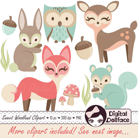 Clipart Baby Animals Clip Art Forest Friends Baby Shower Fox Owl