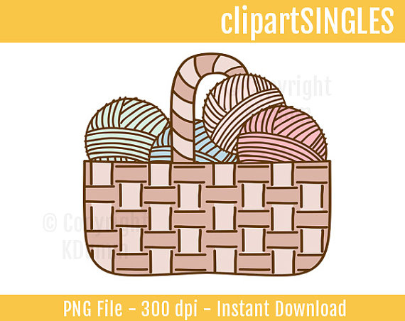 Clipart Knitting Crochet Yarn Basket Commercial By Clipartsingles