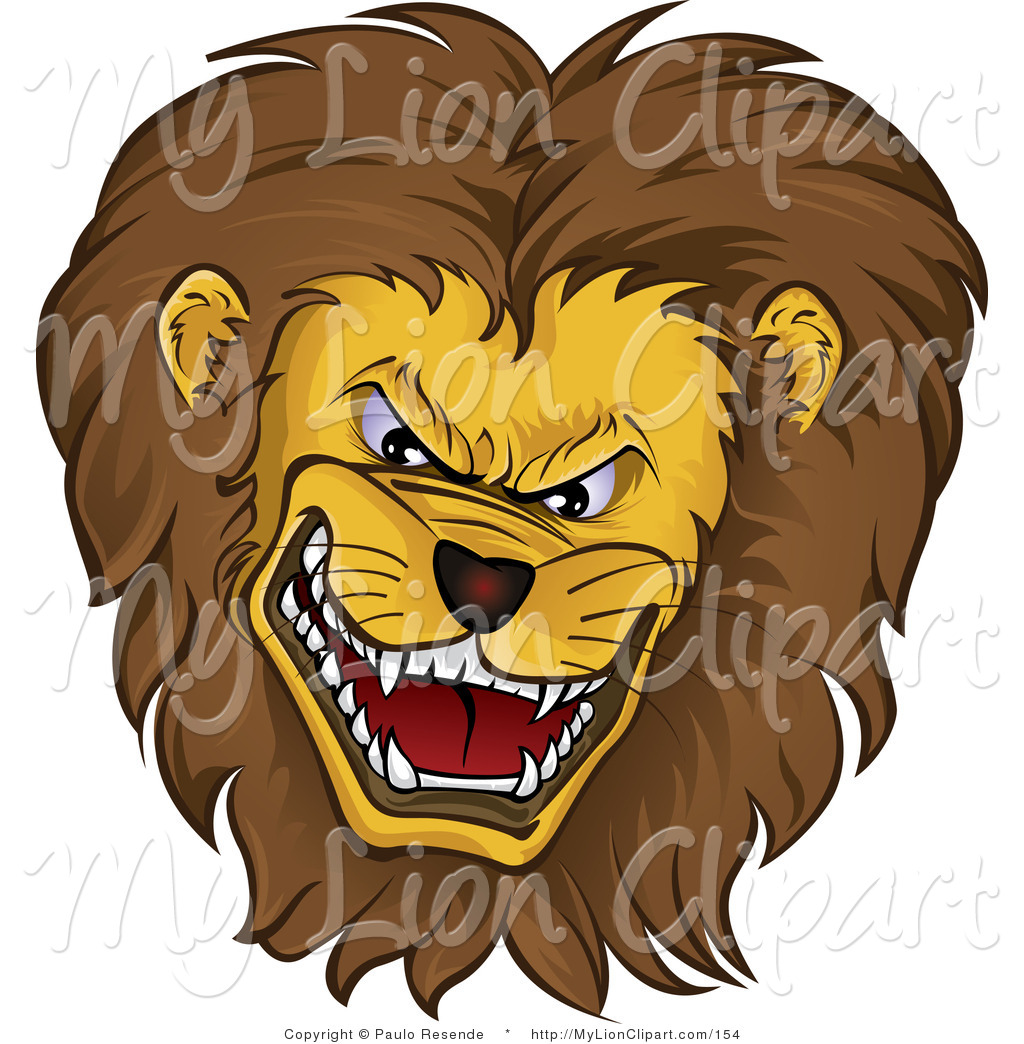 Clipart Of A Mean Growling Lion Head With A Thick Fluffy Mane By Paulo