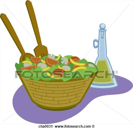 Clipart Of Salad And Dressing Cha0031   Search Clip Art Illustration