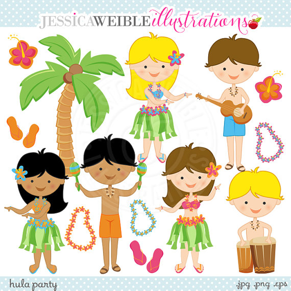Cute Digital Clipart   Commercial Use Ok   Hula Graphics Tiki Clipart