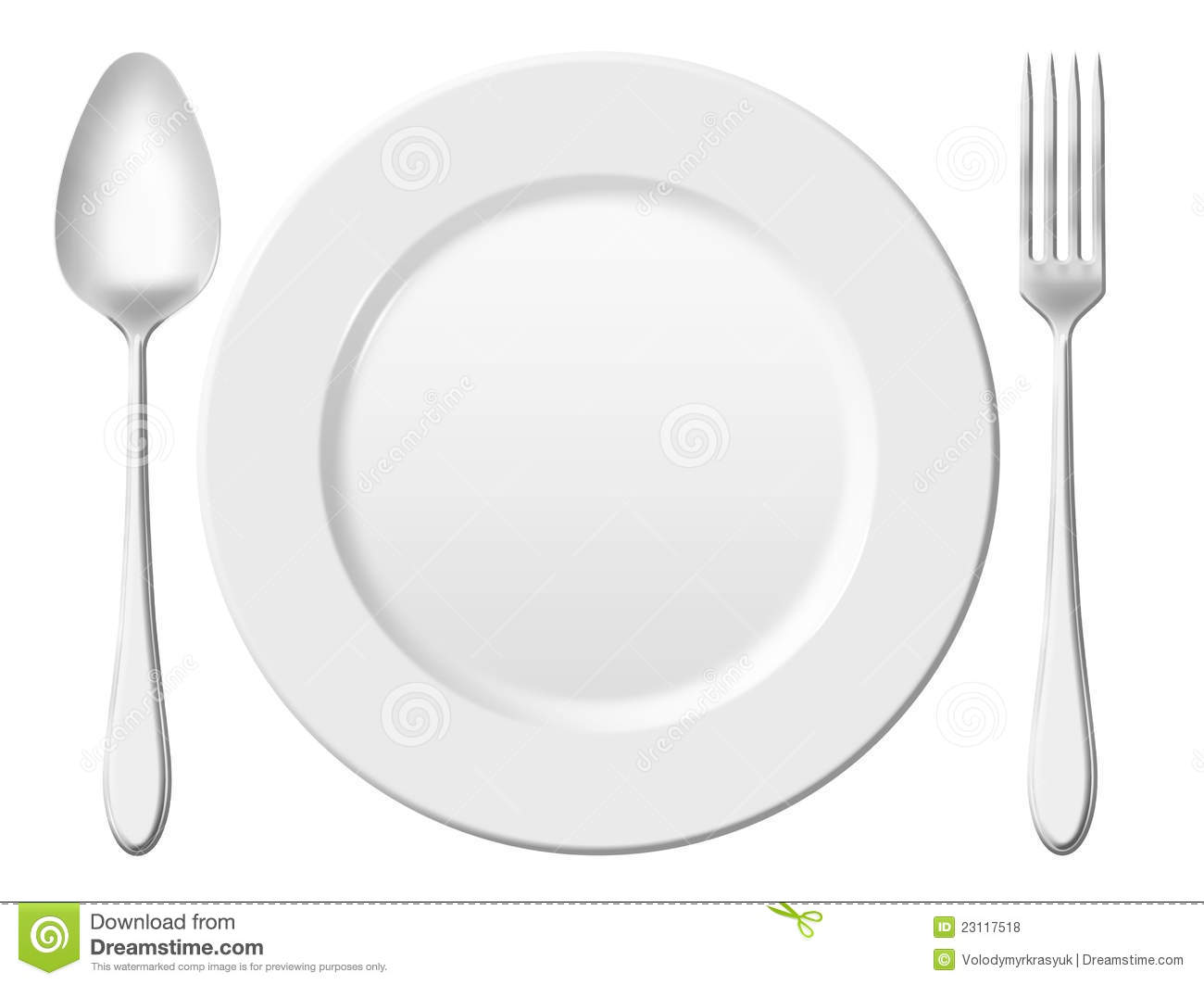 Dinner Place Setting  A White China Plate With Silver Fork And Spoon