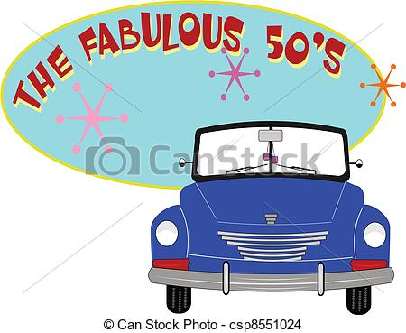 Eps Vector Of Fab 50s   Fifties Roadster Over Oval Text Of Fab 50s