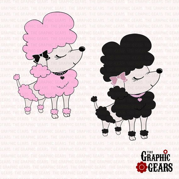French Poodle Clip Art   Pink And Black Poodle Dog Clip Art  Personal