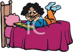 Girl Reading Her Bible Before Bed   Royalty Free Clipart Picture