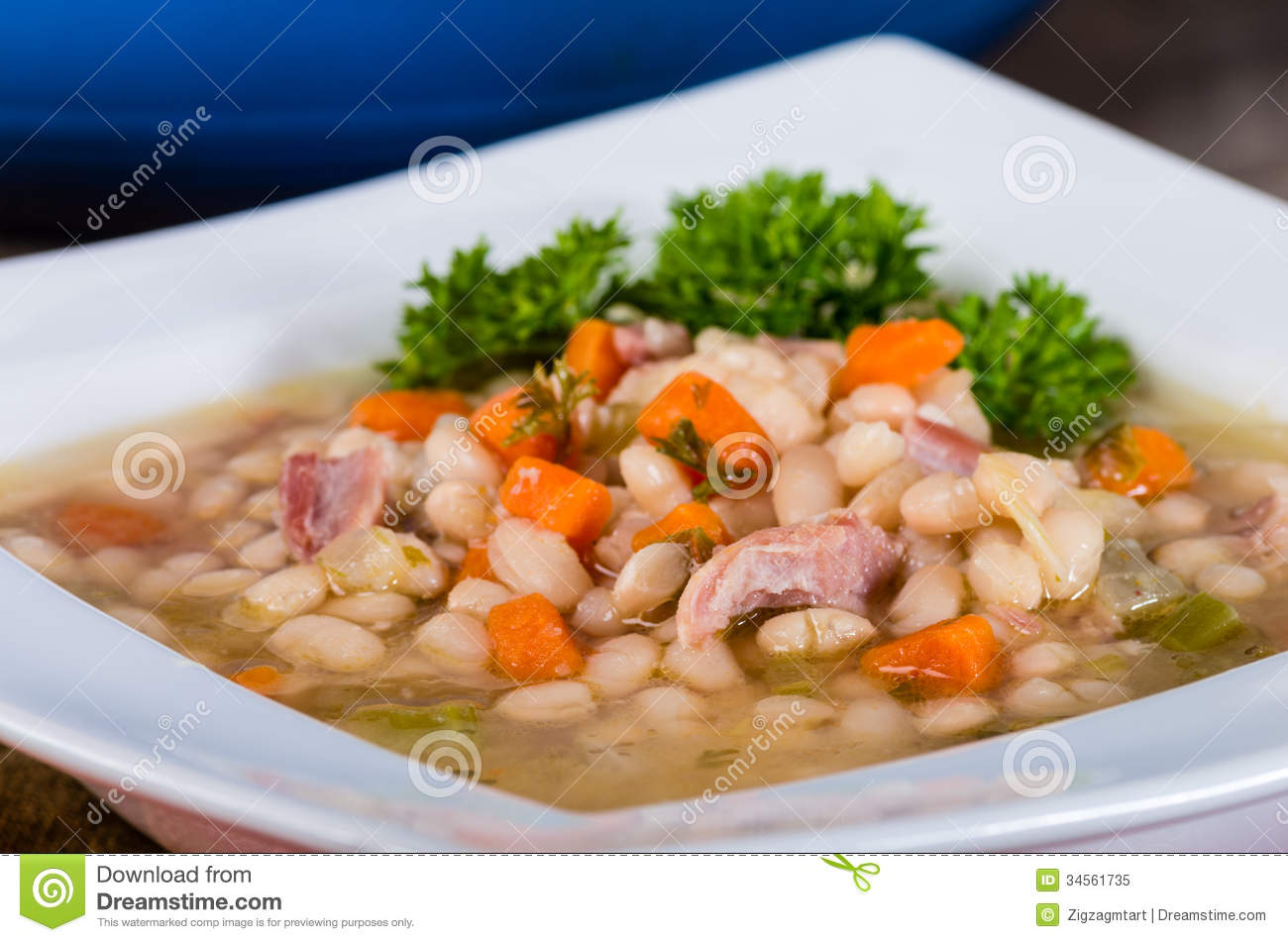 Ham And Bean Soup With Carrots Royalty Free Stock Photo   Image