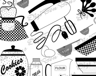 In Black White   Gray  Cute Retro 50 S Kitchen Clipart Clip Art