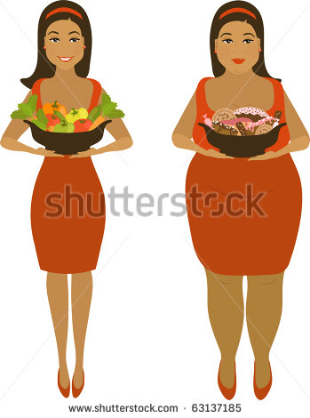 Isolated Illustration Of Thick And Thin Girls   Stock Vector